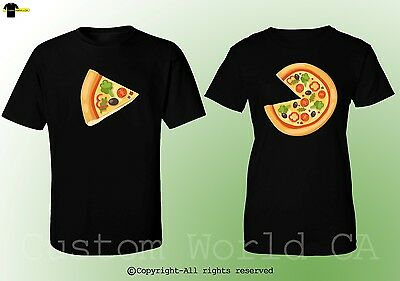 Couple T-Shirts - Colorful Pizza Slice His And Hers Love Matching Couple Clothes