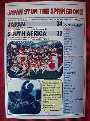 Japan 34 South Africa 32 - 2015 Rugby World Cup - souvenir print