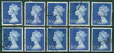 GREAT BRITAIN SG-8312/Ea, SCOTT # MH-167 MACHIN USED, 10 STAMPS, GREAT PRICE!