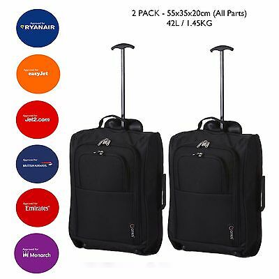 2XLightweight Hand Luggage Bag Baggage Wheeled Cabin Approved Ryanair New Prints