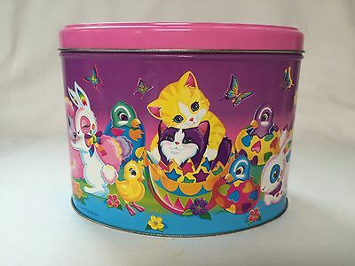 Lisa Frank Vintage Collectible Tin Easter Spring Cats Rabbits Ducks Container