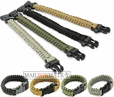 550lb Paracord Survival Military Bracelet Buckle Cord Whistle Wristband Camping