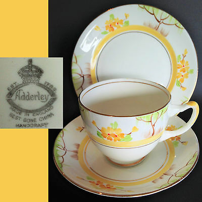 Adderley 1940s Best Bone China Handcraft Vintage Hand Painted English Trio Set