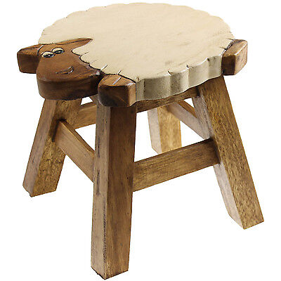 Solid Wood Wooden Round Sheep Design Kids Foot Stool Children Seat Furniture New