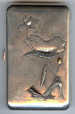 Hallmarked Antique Sterling Frog Turtle Lily Relief Pond Life Cigarette Case