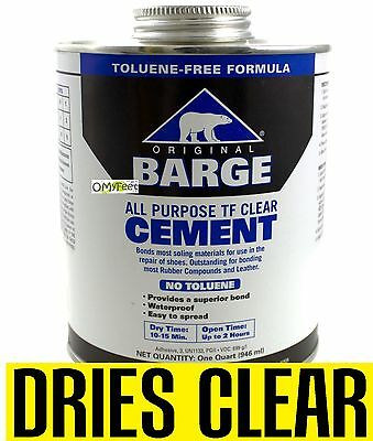 QUART BARGE ORIGINAL Slow Dry Dries Clear Cement Rubber Contact Glue  Adhesive