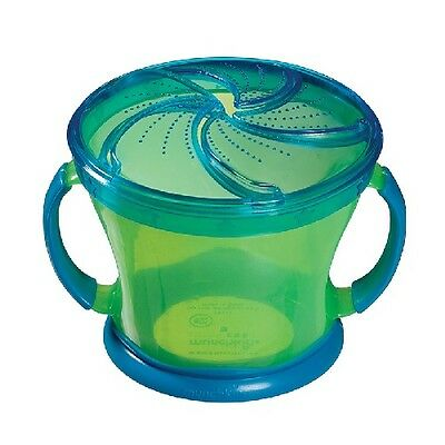 Munchkin Baby Toddler Snack Catcher Green w/Blue Top 12M+ 9 oz. Cup
