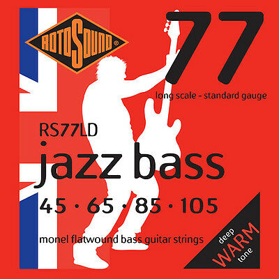 Rotosound RS77LD Flatwound Electric Bass Strings Long Scale Regular Gauge