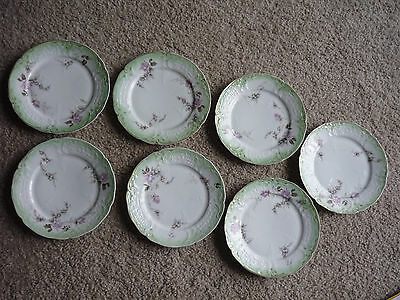 "Set Of 7 Antique Rosenthal Sanssouci 8"" Plates/ Purple & Green/ 1891-1906"