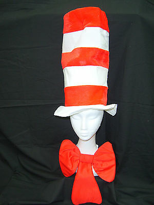 Dr Seuss Cat In The Hat and Bowtie Adult Size Costume Hat Bow Tie Party Dress Up