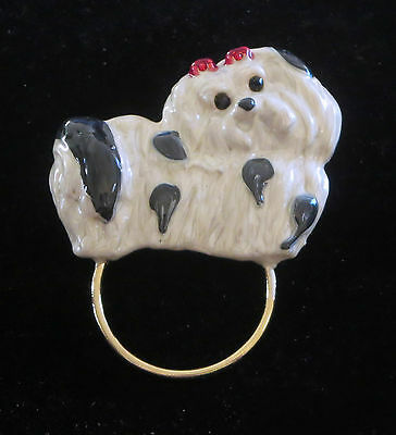 Shih Tzu Pin Scarf Holder Loop Dog Gold Tone Crystal Eyes New