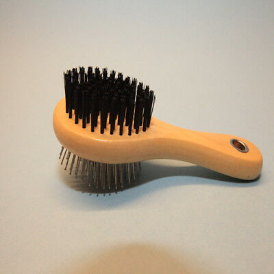 Pet Wooden Double Sided Grooming Brush for Dogs & Cats Hair Fur Shed Comb (Gray)