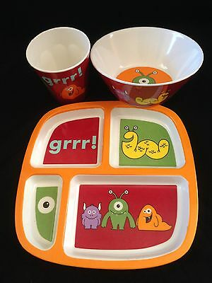 Toddler Kid Tablewear, matching set, divided plate, bowl, cup alien monster NEW