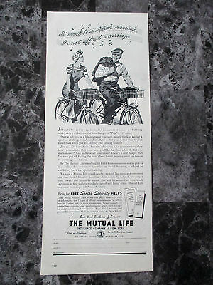 "Vintage 1944 Mutual Life Insurance Co. of New York Print Ad, 13.75"" X 5.625"""
