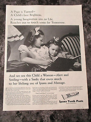 "Vintage 1944 Ipana Toothpaste Little Girl Print Ad, 13.625"" X 10.25"""