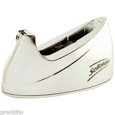 Large Chrome Silver Sellotape Tape Dispenser - Non Slip Base Large for 66m rolls