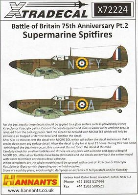 Xtradecal X72224 1/72 Spitfire Mk.Ia Battle of Britain 1940 Pt.2 Model Decals