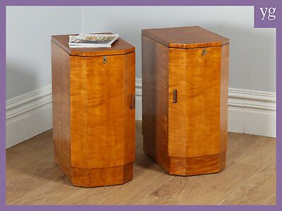 Antique Pair of Art Deco Sycamore Bedside Cupboards Night Stands Chests Cabinets