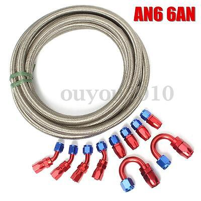 AN6 -6AN Stainless Steel Braided OIL/FUEL Line + Fitting Hose End Adaptor KIT SI