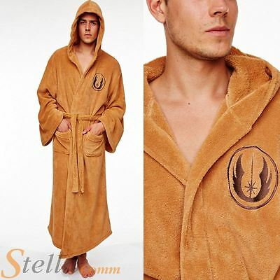 Adult Official Star Wars Jedi Soft Fleece Hooded Brown Bathrobe Dressing Gown