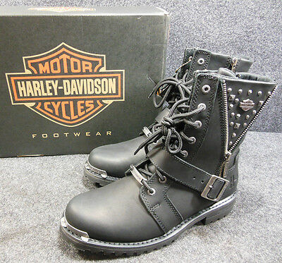 Harley Mindy Ladies Stud Zip Lace Buckle Motorcycle Boots Size 9 D87051 #C158