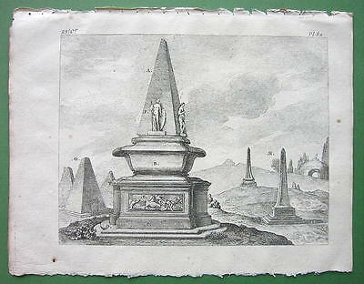 EGYPT Obelisk Tombs of Rich Egyptians - 1774 Original Copperplate Print