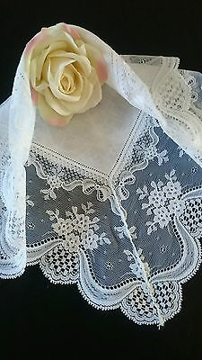 Irish linen lace White WEDDING HANKY Pearls Rhinestones Vintage Nottingham lace
