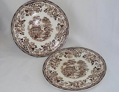 CLARICE CLIFF Stafforshire TONQUIN Brown Transferware Dinner Plates, Set of 2