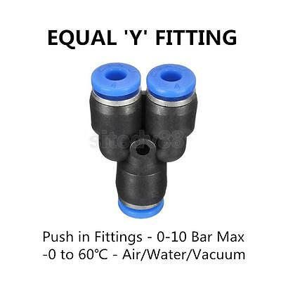 Pack 5pcs 6mm Pneumatic Equal Y Connector Push In Fitting for Air Hose Tube