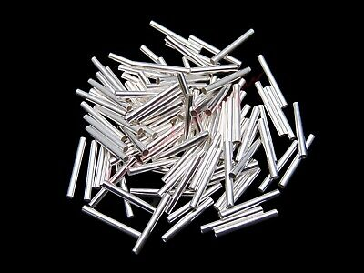 15mm Silver Plated Straight Tube Spacer Beads 1mm Hole Jewellery Findings ML