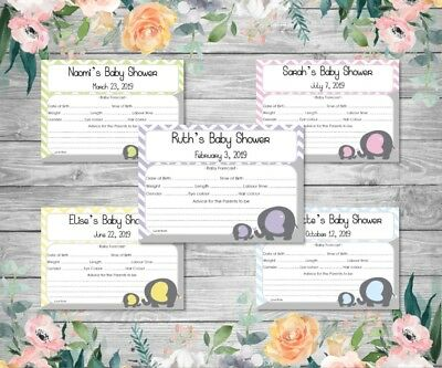 BABY SHOWER FORECAST/PREDICTION CARDS - Mummy & Baby Elephant - assorted colours