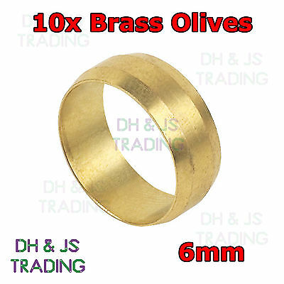 10x Brass Compression Olives 6mm - Plumbing Barrel Olive 6 Pipe Fitting