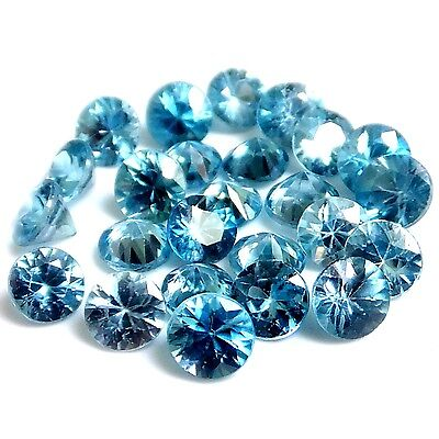 NATURAL POOL BLUE NATURAL ZIRCON LOOSE GEMSTONES (1 piece ) DIAMOND-CUT ROUND