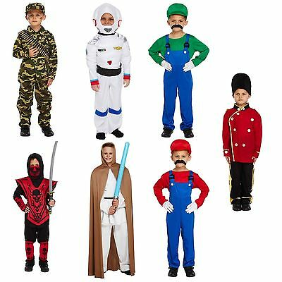 Boys Fancy Dress Up Costume Super Mario Jedi Ninja Spaceman Soldier Army Age 4-9