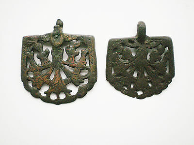 RARE ANCIENT Bronze Belt Decoration Belt End Golden Horde 12 - 14 century AD