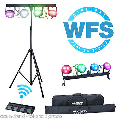 Kam Power Partybar WFS LED Par Can Lighting System + Wireless Footswitch + Bags