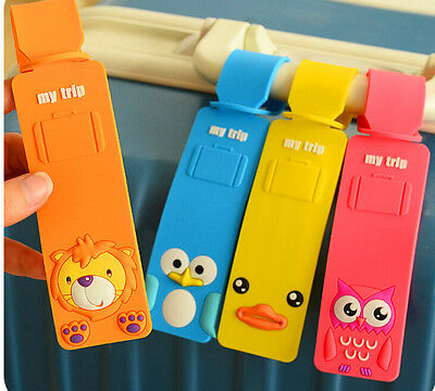 2D Cute Animal Luggage Baggage Tags Labels Name Address ID Suitcase Travel Owl