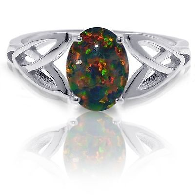 Australian Black Fire Opal Infinity Celtic Oval Birthstone Sterling Silver Ring