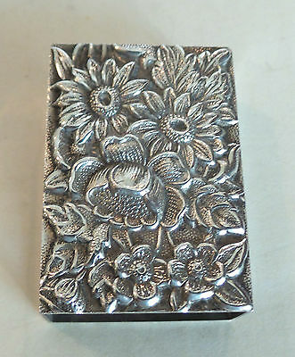 """Beautiful Vintage S. Kirk & Son """"repousse"""" Sterling Silver Match Box Cover #90F"""