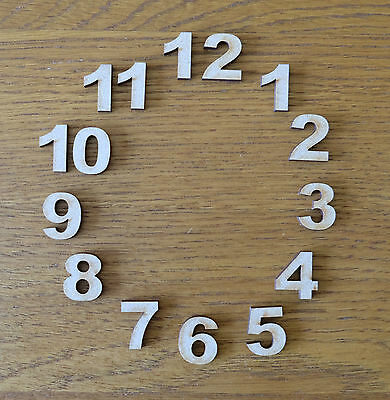 Set of 15mm (1.5cm) Wooden MDF Clock Face Numbers blank craft shapes