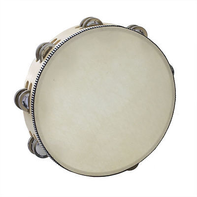 Handheld Wooden 10-Inch Tambourine w/ Skin & 16 Pair of Jingle Bell ~KP_TMW10-2C