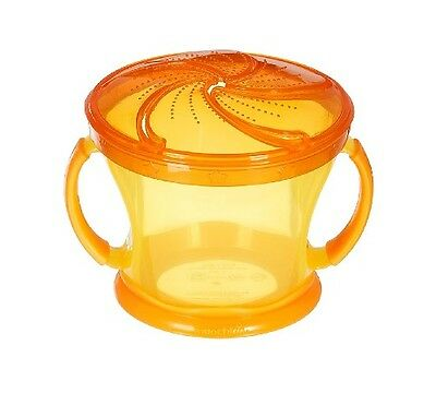 Munchkin Baby Toddler Snack Catcher Yellow w/ Orange Top 12M+ 9 oz. Cup