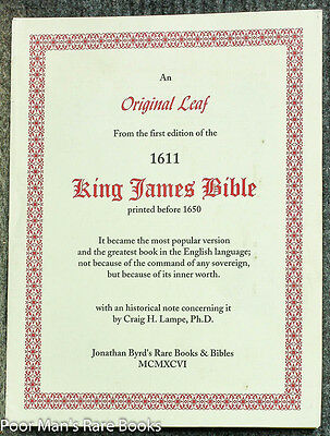 An Original Leaf From King James Bible 1St Ed Of 1611 But Ptd Before 1650 W/cert