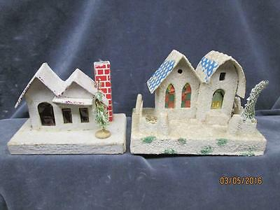 2 Vintage Putz? White Frosted Mica White House With Bottle Brush Trees