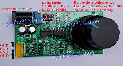 PWM 0-90% Frequency 1Hz-100KHz Square Wave Signal Generator Duty Cycle Adjust