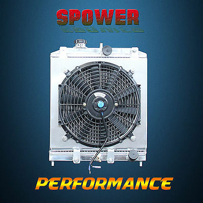 2 Row Aluminum Radiator + Fan Shroud  For Honda Civic EG EK B16 B18 MT 1992-2000