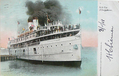 Postcard:  Ss City Of South Haven.  Pmkd. Chicago 1908