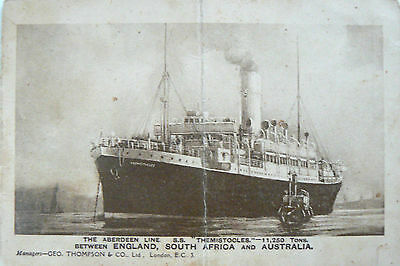 Postcard And Theatre Programme. Aberdeen Line Ss Themistocles. 1910-1947. Rare?