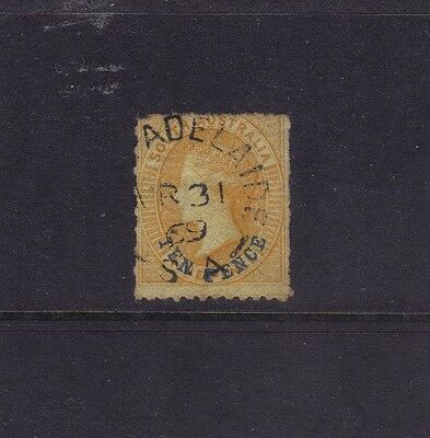 SA Sg 59,Sc# 23; 10d on 9d Yellow Perf 11½-12½ x Rouletted,VFU.cv $100