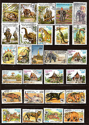 LAOS  Animaux sauvages et pagodes typiques  F126